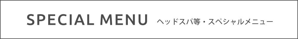 SPECIAL MENU ヘッドスパ等・スペシャルメニュー